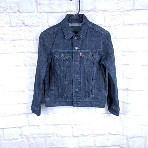 Levi's denim jeans trucker jacket small dark wash